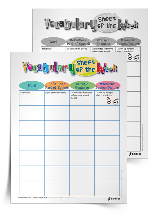 The list of words that literacy specialists/coaches study with students can often be overwhelming to those students. Using the Vocabulary Sheet of the Week is a great way for students to see at a glance each word they are learning and how they personally connected to each one. The sheet allows space for student-created definitions, sentences, mnemonic device, and pictures; it pushes students to work with each word significantly before moving on to the next.