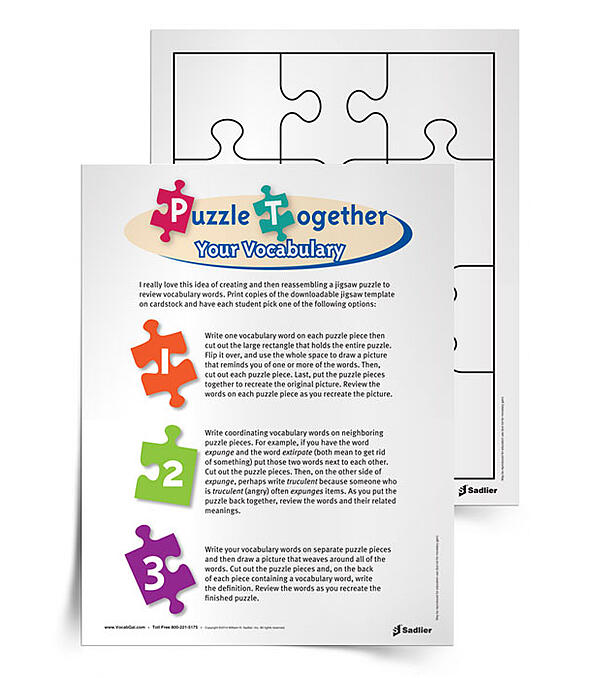 Students love puzzles, especially spatial and kinesthetic who might not always be able to have a physical activity to do while studying words.  Hopefully this is a unique enough twist for students to learn to piece words and meaning together!