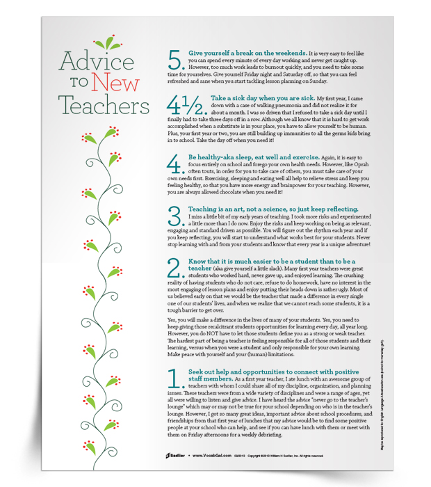 I mentor many new teachers each year, both formally and informally, and my favorite resource for them is the Advice to New Teachers printable. I encourage them to hang it up by their desks or to put it in their teacher planning binder to remind themselves that their early years are hard, and that they need to be kind to themselves.