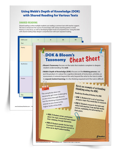 Using Webb S DOK And Bloom S Taxonomy Within Shared Reading