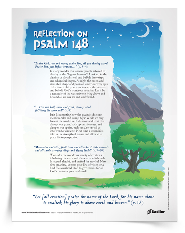 Download my Reflection on Psalm 148 and use it in your home or parish as a way to increase your love for all of God's Creation.