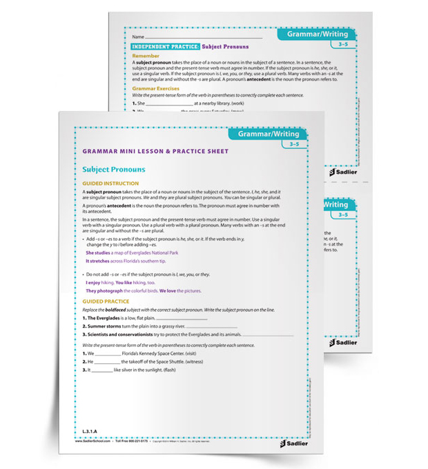 Printables Middle School Grammar Worksheets 25 printable grammar worksheets that will improve students writing subject pronouns 3 5
