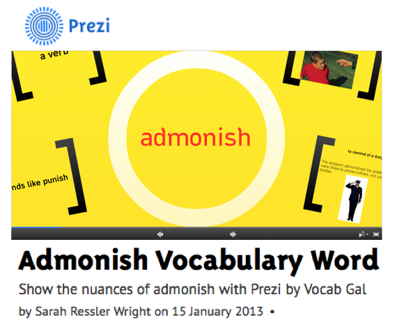 I encourage you to watch my Prezi presentation example and then download the PDF version of my Prezi assignment sheet and rubric. This fun and visual vocabulary activity will have both you and your students excited – and isn't that what we want from all our assignments?