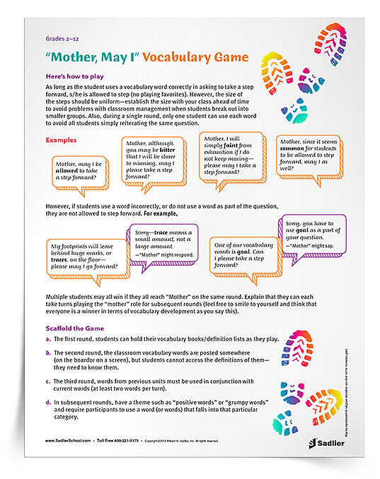 Mother May I Vocabulary Game Grades 212