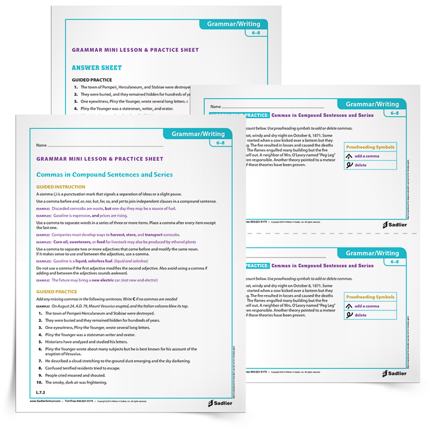Commas In A Series Worksheet Grades 6 8