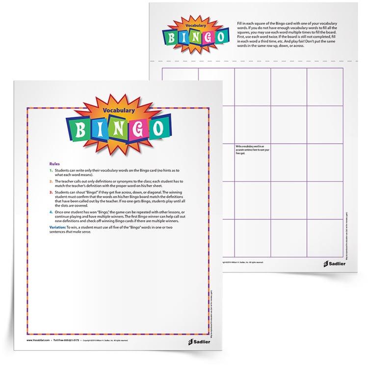 photograph about 7th Grade Math Bingo Printable named Bingo Vocabulary Video game, Grades 112