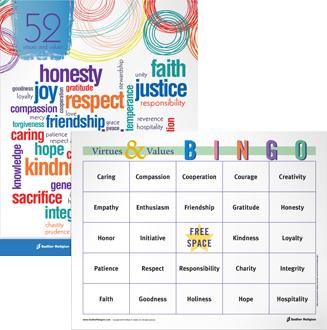 Virtues Value Bingo Game