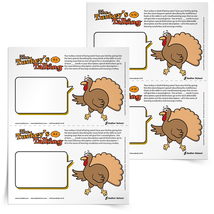 How can a turkey escape being the main course at Thanksgiving dinner? By describing how delicious all the other foods on the table will be, of course!  Your students' task with The Turkey's Talking activity is to make Mr. Turkey use as many vocabulary words as possible to describe the other dishes in the Thanksgiving feast. If Mr. Turkey uses enough vocabulary words and makes the descriptions tantalizing enough, he will be pardoned!  Have students compete over who can write the zaniest descriptions, the most gourmet descriptions, or even the most disgusting descriptions of the Thanksgiving meal. Download the The Turkey's Talking activity now!