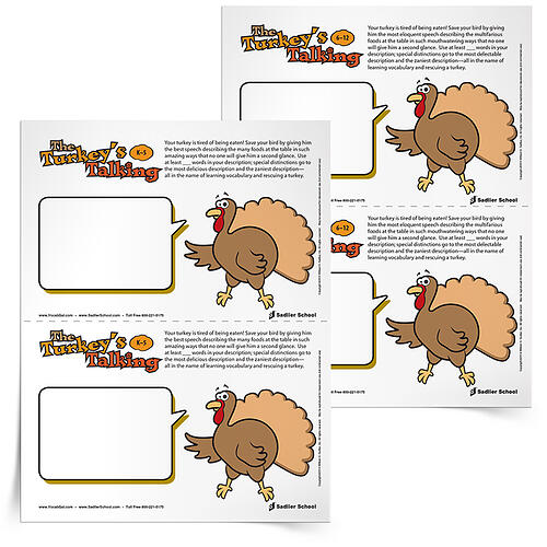 Your students' task with The Turkey's Talking activity is to make Mr. Turkey use as many vocabulary words as possible to describe the other dishes in the Thanksgiving feast.
