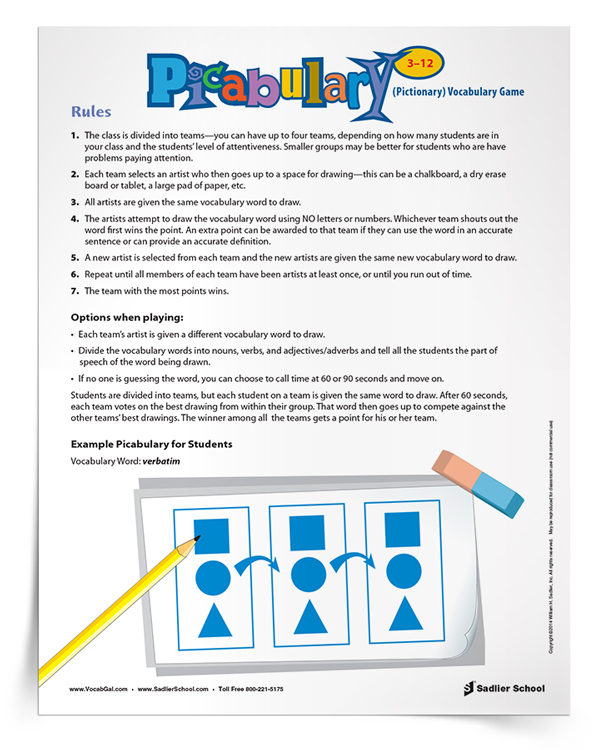 Another excellent game to play over the summer is Picabulary, in which learners draw their vocabulary words. This makes for a silly, fun pastime for a rainy day or hot afternoon that does not require any prep work other than writing out the vocabulary words on flashcards.