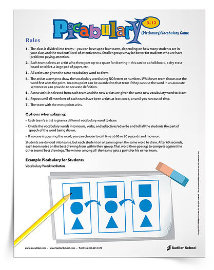 The Picabulary Vocabulary Game, similar to Hasbro® Pictionary™, is a quick and often hilarious way to review vocabulary words! Divided into teams, students have to creatively draw out vocabulary word meanings for their teammates to guess. The team with the most points wins!
