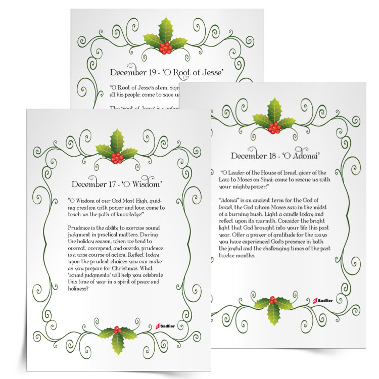 """We invite you to download reflections on the """"O Antiphons"""" and incorporate them into your personal reflections, as well as into your family or class activities."""