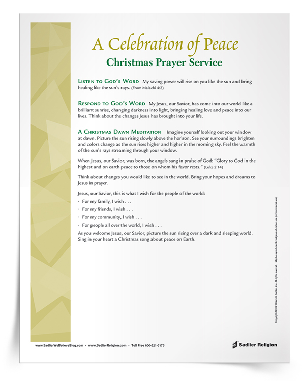 Printable Catholic Christmas Prayer Service: Celebration of