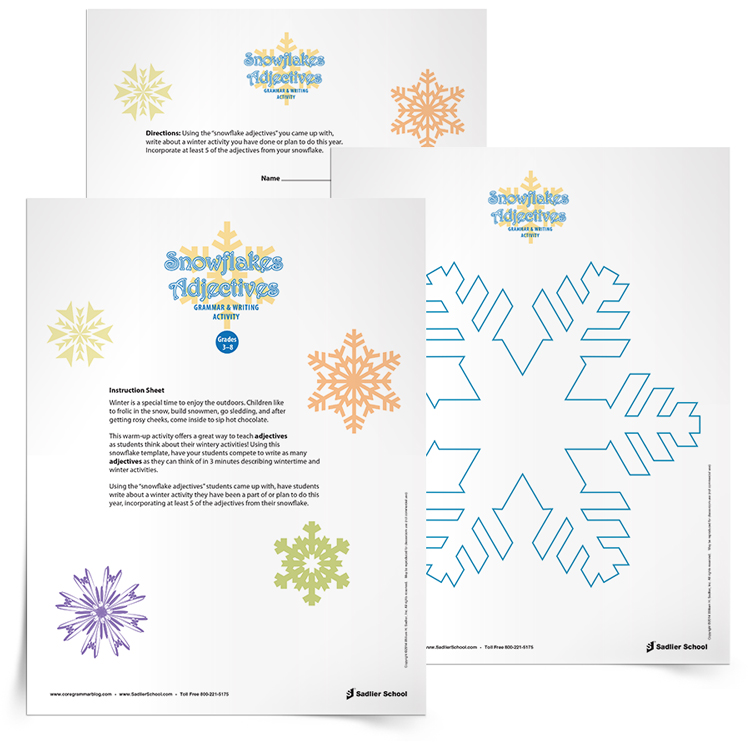 This warm-up activity offers a great way to teach adjectives as students think about wintery activities! Using this Snowflake Adjectives Activity template, have your students compete to write as many adjectives as they can think of in 3 minutes describing wintertime and winter activities.