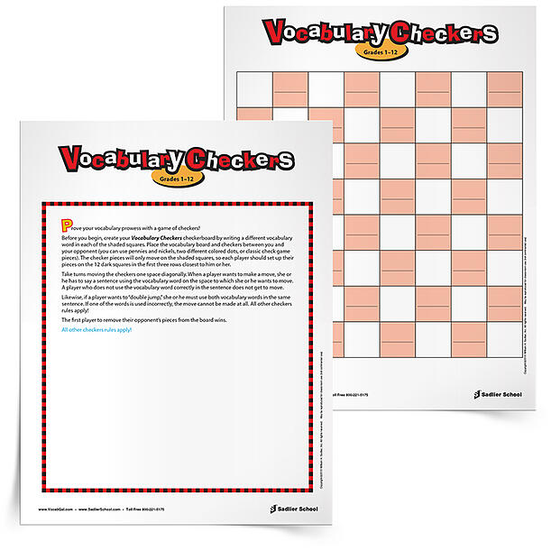 I adored playing checkers growing up, and I thought that a vocabulary version would be fun and easy to play, as well as a great review for students.