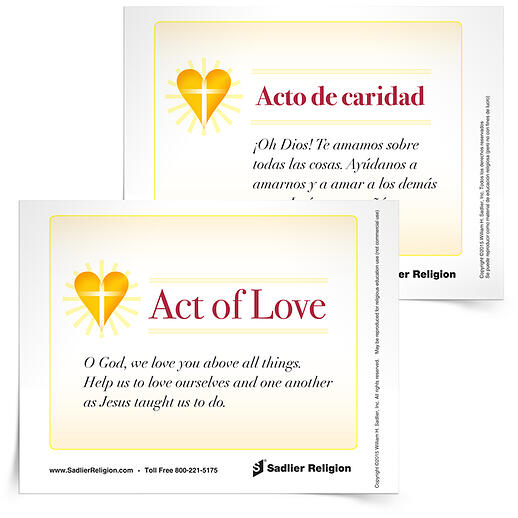 Download an Act of Love prayer card in English or Spanish to use at home or in your classroom.