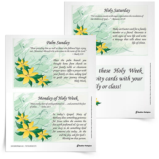 Download complimentary Holy Week Reflection Cards and use them with your family or class to observe this sacred events of Holy Week.