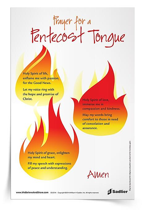 Like those early disciples, we are called to put our own gifts to use and spread the Good News with love. Download a Prayer for Pentecost Tongue Prayer Card now!