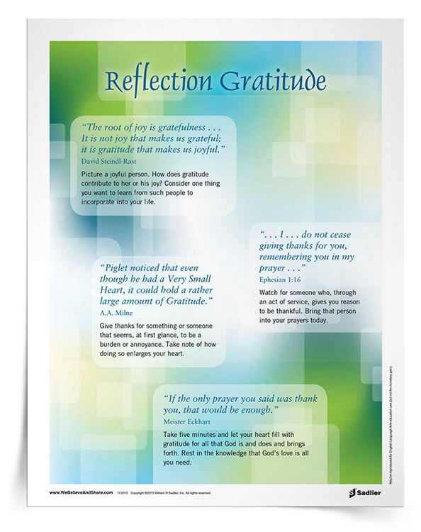 Download a Reflection on Gratitude Handout, and use it in your parish or home as a way to celebrate Thanksgiving and to cultivate a grateful heart!