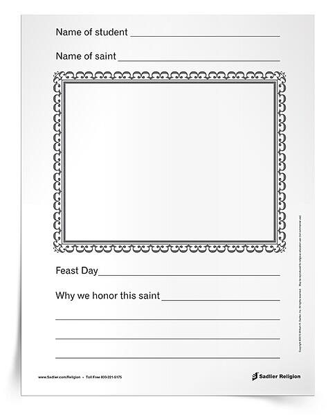 As an All Saints' Day activity, assign each student in your class a saint to research using Sadlier's Lives of the Saints feature.  After reading the online profile of a saint, invite students to complete this handout. Give each student a minute or two to present their report to the class before binding the handouts into a book, or display the finished handouts in your classroom or parish.