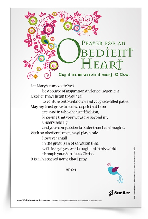 Prayer for an Obedient Heart Prayer Card