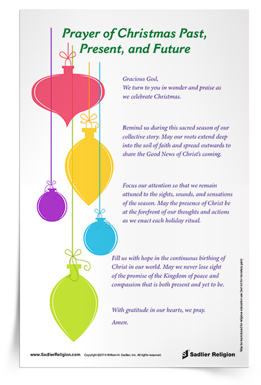 Download my Prayer of Christmas Past, Present, and Future and use it in your home or parish as a way to celebrate the season of Christmas.