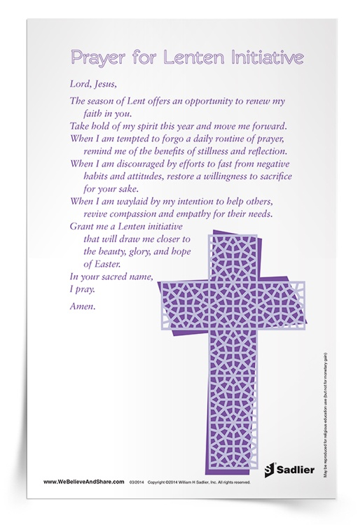 Prayer for Lenten Initiative Prayer Card