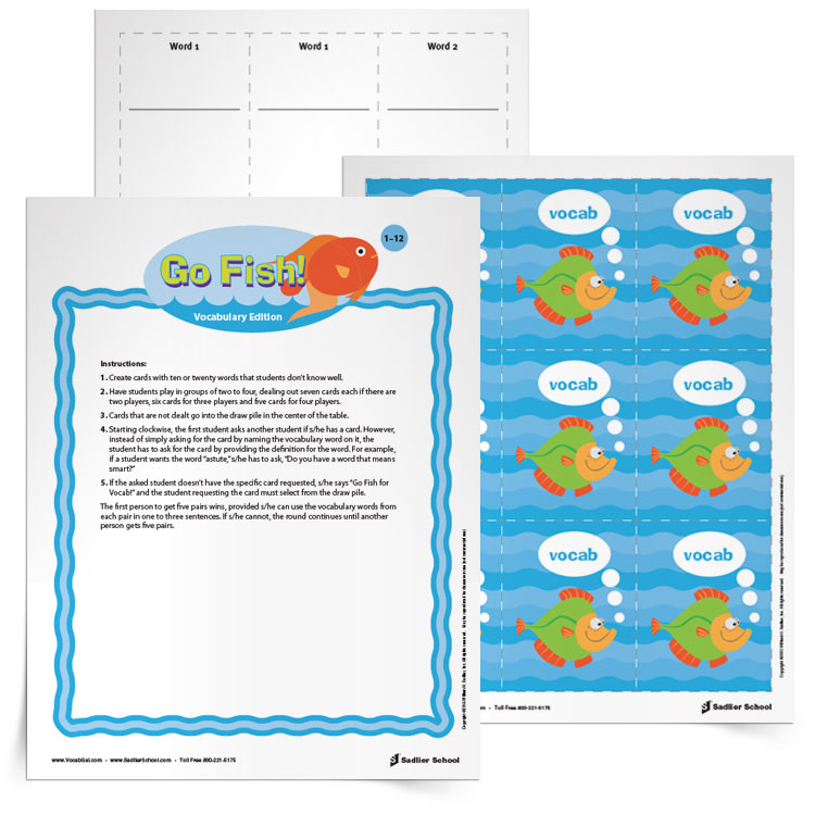 """The third game on this summer list is Go Fish for Vocabulary. With this printable learners create fish cards with their vocabulary words and then play a game of """"Go Fish"""" by asking if another player has a word with a specific definition. This is the perfect vocabulary game after a long summer swim day!"""
