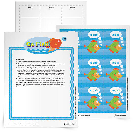 "The third game on this summer list is Go Fish for Vocabulary. With this printable learners create fish cards with their vocabulary words and then play a game of ""Go Fish"" by asking if another player has a word with a specific definition. This is the perfect vocabulary game after a long summer swim day!"