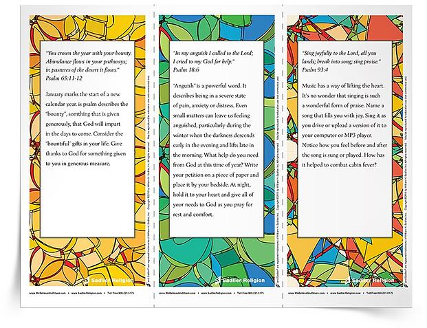 Download January Psalm Reflections and place them near your daily calendar or on the family table. Use them for individual reflection or for religious education classroom, parish, or family discussion.