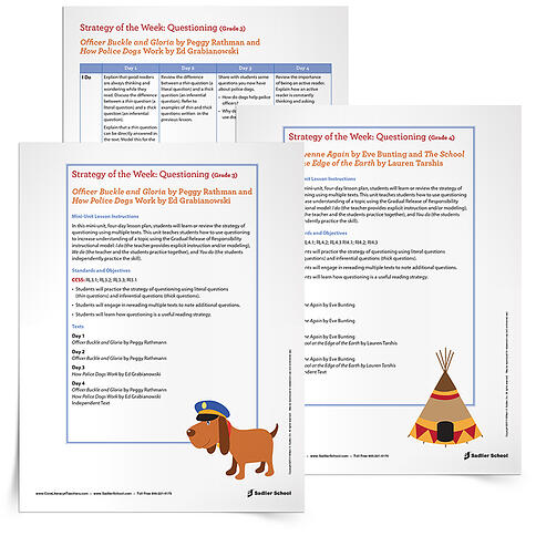 Free Printable Reading Comprehension Worksheets- Questioning in Reading Strategy Lesson