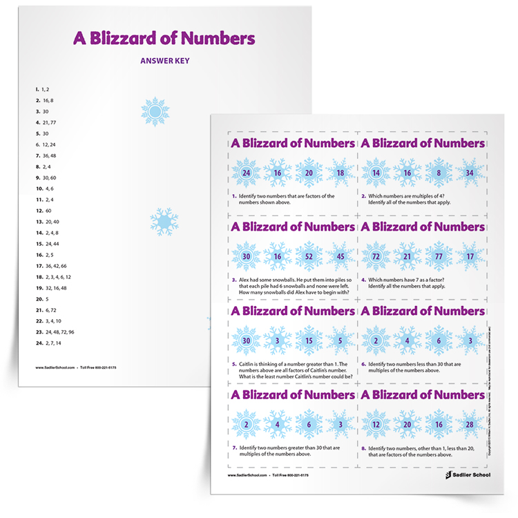 Get students excited about reviewing factors and multiples with the Blizzard of Numbers Math Game. The objective of this game is for students to identify the numbers in the snowflakes that answers the question on the card. This game can be played by individual students or in groups of two to four players. factors-and-multiples-game-blizzard-of-numbers-750px.jpg