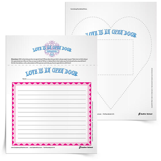 Printable Valentine Worksheets for Elementary Students – Love Is An Open Door Writing Activity