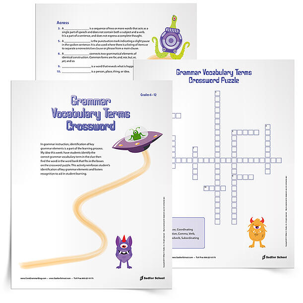 Grammar Terms Crossword Puzzle Game, Grades 6–12