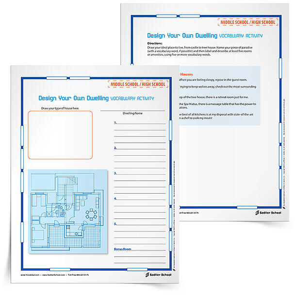 With the Design Your Own Dwelling Vocabulary Activity students will draw up their ideal place to live, from castle to tree house. Then they will use vocabulary words to label and describe aspects of their dwelling.