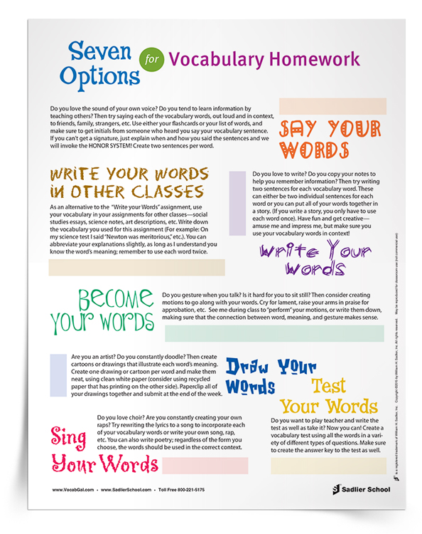 Students can also practice both learning new words and reading more fluently through interesting home activities. This assessment allows students to choose the way they most enjoy learning and to connect their learning style with studying new words.