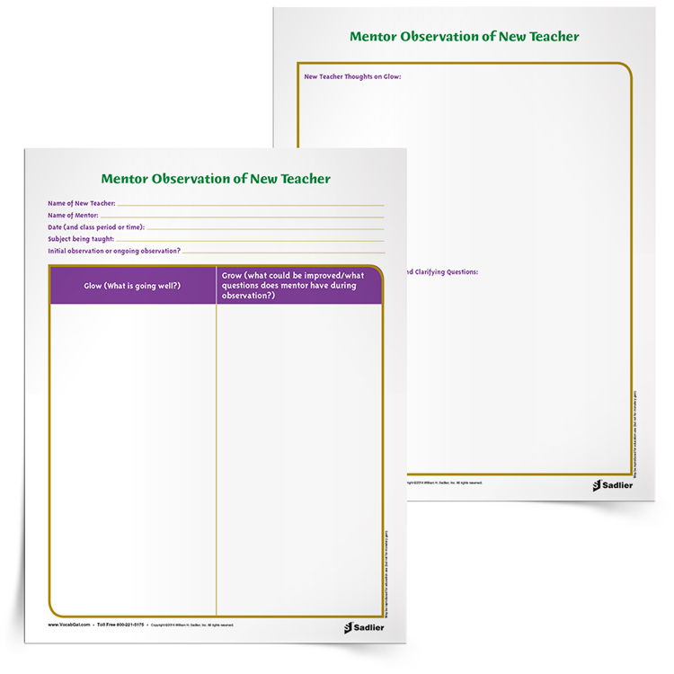 """Although my state has many official forms for new teachers to fill out, I like this Glow/Grow Feedback Form for observations because it gives me a chance to both highlight what the teacher is doing well, as well as to reflect on how they can grow. I like the positive terminology used, rather than """"Right"""" or """"Wrong"""" because I find that new teachers can be both hypercritical of themselves and can also become defensive when being critiqued."""