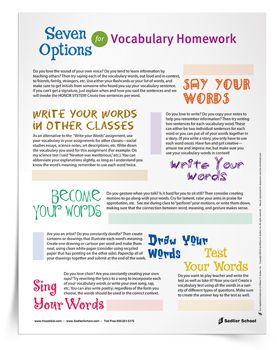 7 Options for Vocabulary Homework