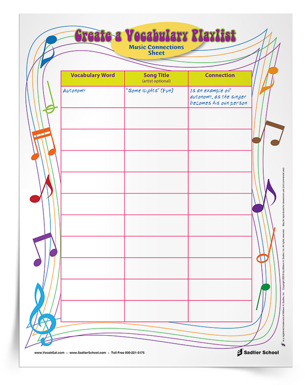 With this summer worksheet, students will make mnemonic connections to words and definitions by simply linking a vocabulary word to a favorite relevant song. The downloadable vocabulary playlist is an easy way to engage students in thinking critically about tough words.