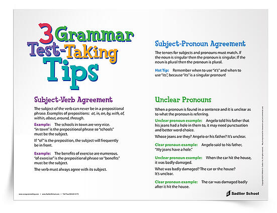 Make sure your students' grammar skills are in tip-top shape with the 3 Grammar Test-Taking Tips Reference Sheet.