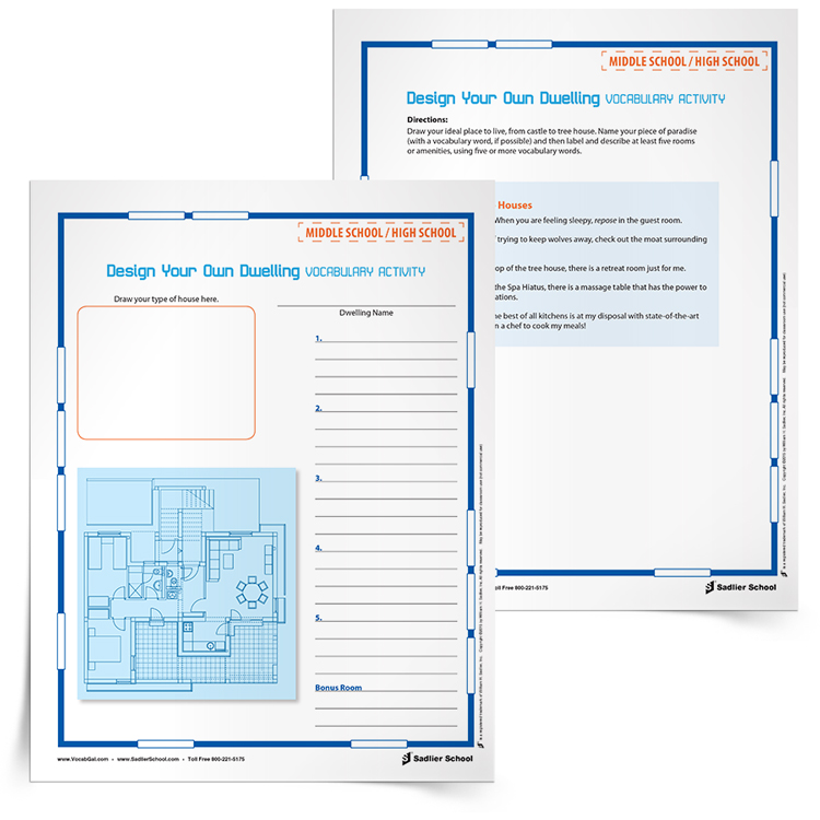 Have students design the dwellings of the book they are reading, based on the author's descriptions and their inferences from the text. Students should label these designs with quotes and inferences from the writing, as well as their vocabulary words. No matter what the text, having to study author's descriptions and make inferences, as well as use vocabulary words, makes this activity a winner!