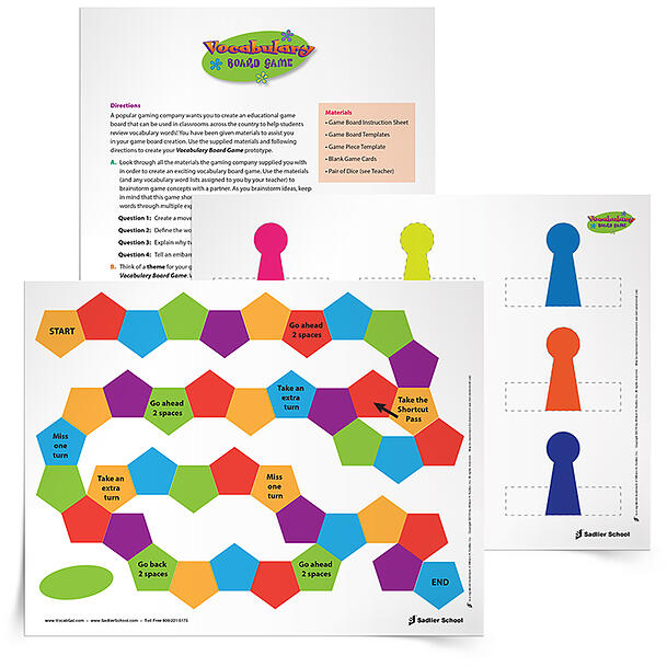 Turn your students into game creators with the vocabulary board game template. Instead of presenting you and your students with a fully finished vocabulary game board that only needs to have the vocabulary words filled in, use my blank template and have students create their own game!
