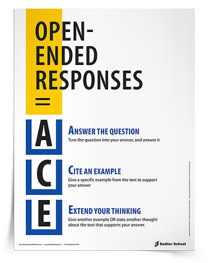 Help students remember how to answer open-ended responses with the ACE Open-Ended Responses Reference Sheet. This reference sheet will give your students an easy acronym for responding to open-ended questions!