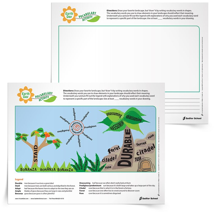 The third of the Earth Day writing activities I'm sharing today was created by the fabulous Vocab Gal! In honor of our planet, have students in grades 1–12 draw their favorite landscape using vocabulary words.  Yep, with this Earth Day writing activity students will actually shape words and letters together to form various elements of their landscape. The fun yet challenging part of this activity is that the words they use to draw each item must have connection with the object. For example, trees are large and solid so they could be created from vocabulary words that have similar meaning.