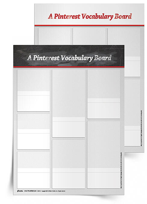 With the Pinterest Board Vocabulary Activity students draw or cut out images of things that will help them remember their vocabulary words! These visual representations will help students make deep connections that they can call upon when asked to remember each vocabulary word's definition.