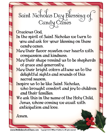 Saint Nicholas Day Blessing of Candy Canes