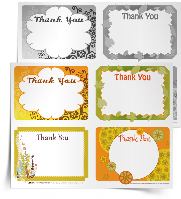"""Have students express thanks this November while using vocabulary words! This simple writing activity challenges students to write four """"thank you"""" messages to hand out to people at school."""