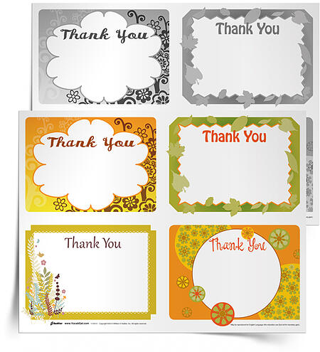 "Have students express thanks this November while using vocabulary words! This simple writing activity challenges students to write four ""thank you"" messages to hand out to people at school."
