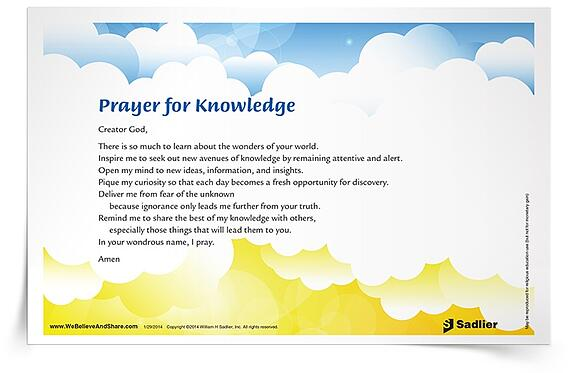 Download my Prayer for Knowledge, and use it in your parish or home.