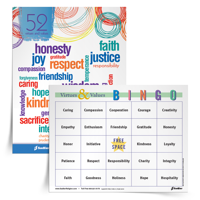 Virtues & Values Bingo Game